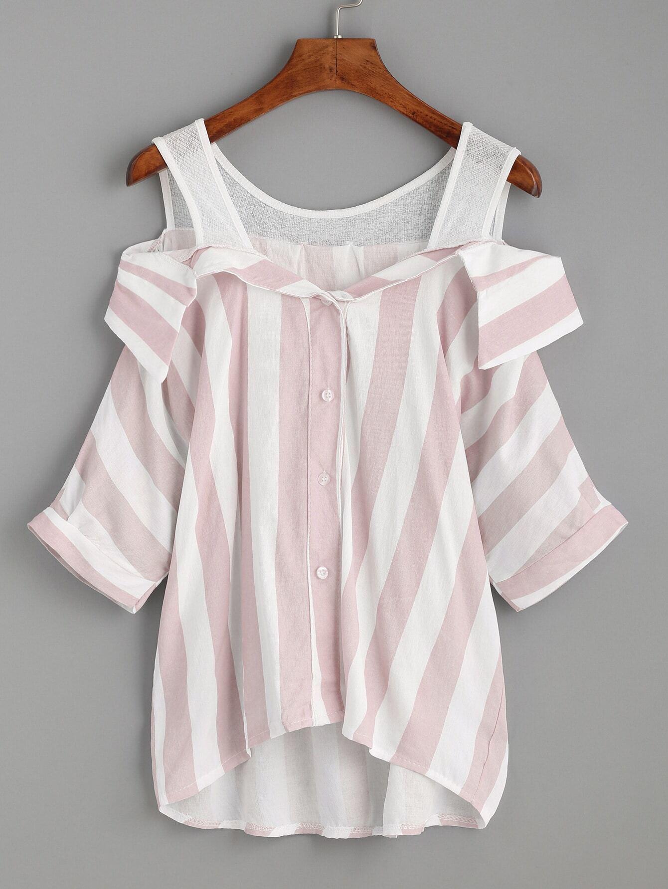 Pink Striped Contrast Open Shoulder High Low Blouse EmmaCloth Women