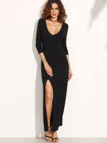 Black Deep V Neck High Split Dress