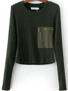 Dark Green Zipper Pocket Ribbed Knit Sweater