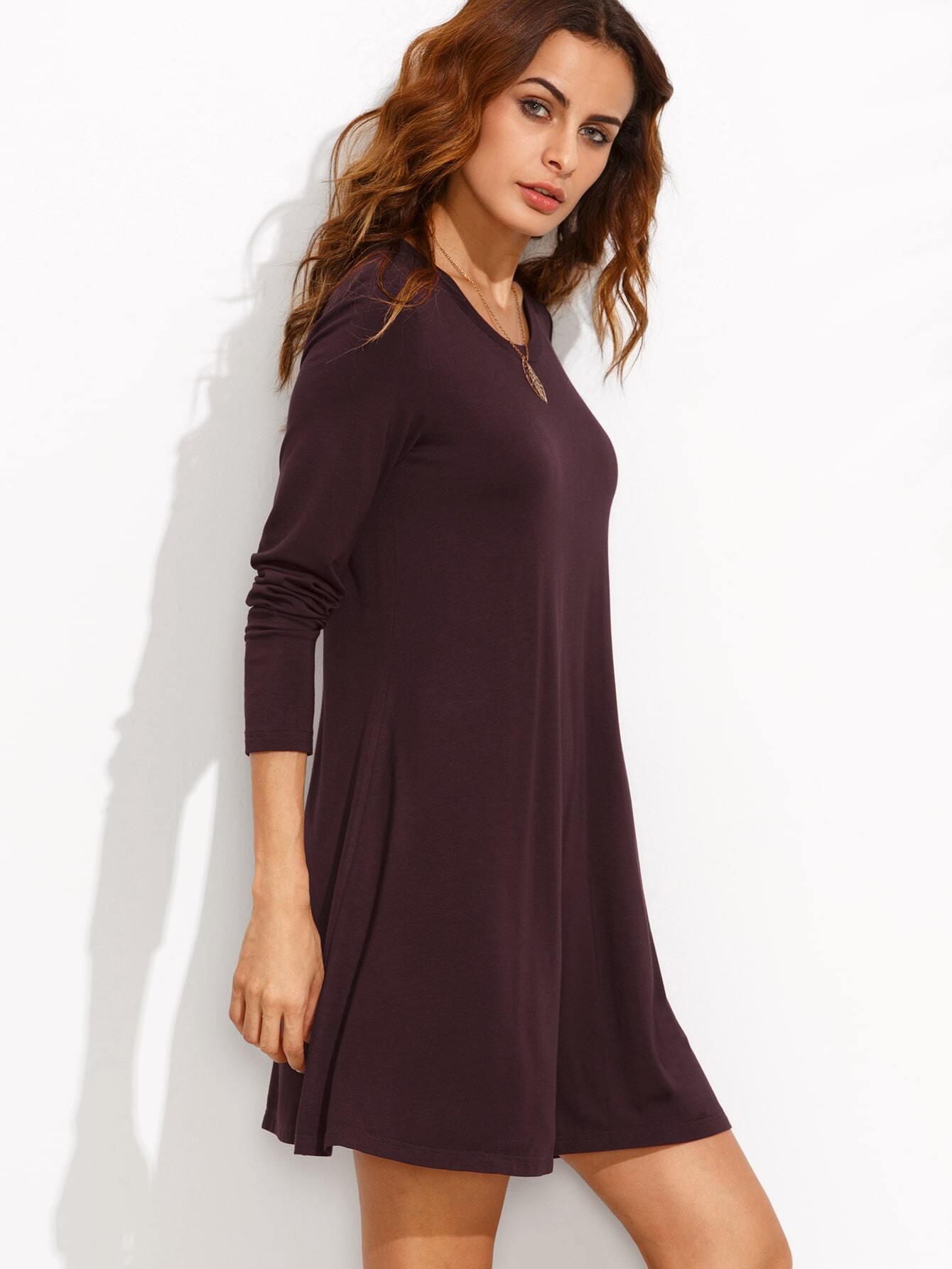 Burgundy Long Sleeve T-shirt Dress EmmaCloth-Women Fast ...