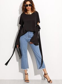 Black Hollow Big Bell Sleeve Top