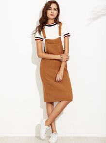 Khaki Ribbed Overall Dress With Pockets