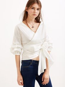 White V Neck Lantern Sleeve Pleated Bow Tie Waist Top