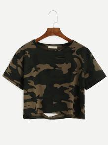 Camo Print Distressed Crop T-shirt