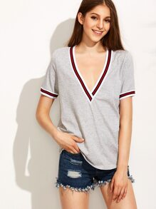 Grey Short Sleeve V Neck T-shirt