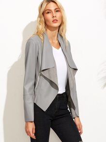 Grey Faux Leather Waterfall Jacket