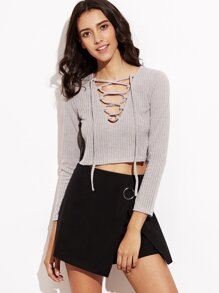 Vertical Striped Lace Up Crop T-shirt