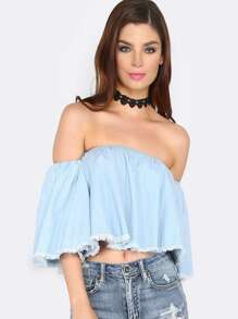 Blue Off The Shoulder Frayed Denim Top