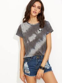 Grey Tie Dye Print Alien Patch T-shirt