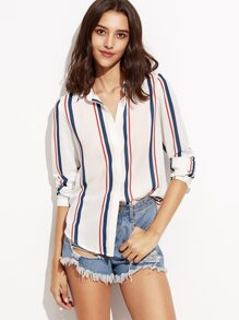 White Vertical Striped Hidden Button Blouse