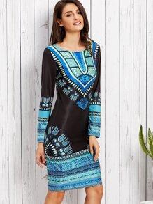 Black Tribal Print Sheath Dress