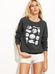 Heather Grey Food Print Sweatshirt