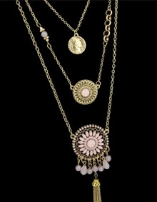 Pink Gemstone Multilayers Pendants Necklace