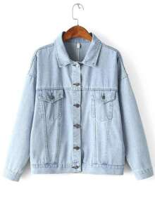 Blue Drop Shoulder Boyfriend Denim Jacket