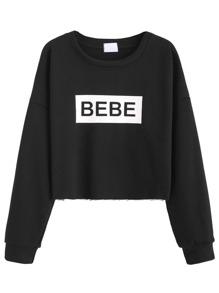 Black Letter Print Drop Shoulder Crop Sweatshirt