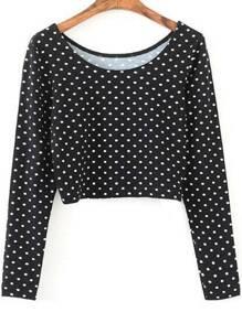 Black Polka Dot Long Sleeve Crop T-Shirt