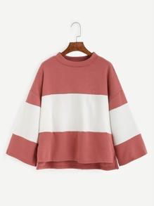 Color Block Dropped Shoulder Dip Hem T-shirt