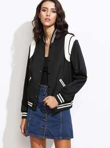 Black Contrast Panel Button Up Varsity Jacket