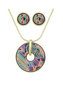 Purple Geometric Pattern Round Necklace Earrings Set