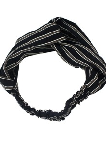 Black New Stripes Elastic Headband Accessories
