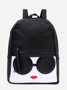 Black Contrast Patch Stitch Detail Zip Pocket Backpack