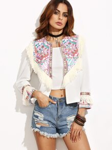 White Tribal Print Fringe Trim Open Front Blazer
