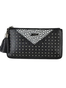 Silver Metallic Spiker Tassel Women Small Clutch