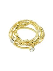 Gold Rhinestone Thin Midi Finger Ring