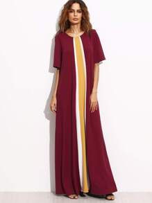 Burgundy Contrast Panel Pleated Back Maxi Dress