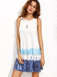 Print in White Sleeveless Shift Dress
