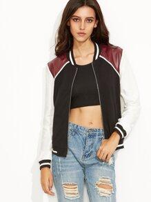 Color Block Faux Leather Patch Zip Up Varsity Jacket
