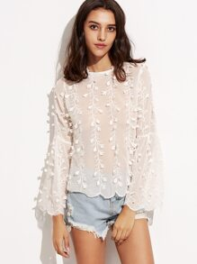 White Flower Applique Bell Sleeve Lace Up V Back Top