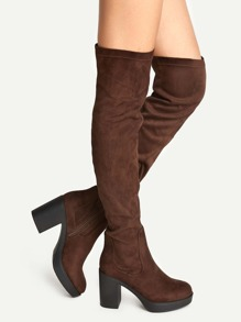 Coffee Suede Point Toe Over The Knee Boots