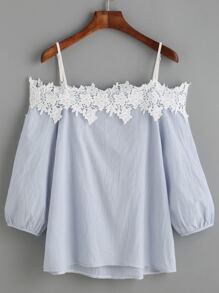 Light Blue Cold Shoulder Appliques Lantern Sleeve Blouse