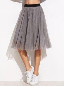 Grey Sheer Mesh Contrast Elastic Waist Skirt