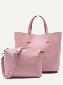 Pink Faux Leather Tote Bag With Crossbody Bag