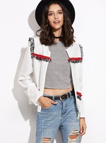 White Pom Pom And Fringe Trim Collarless Blazer