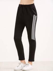Black Elastic Waist 3 Stripe Pants