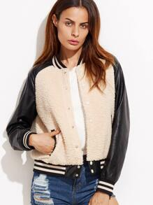 Color Block Striped Trim Hidden Buttons Jacket