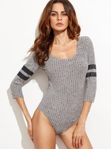 Heather Grey Varsity Striped Sleeve Ribbed Bodysuit