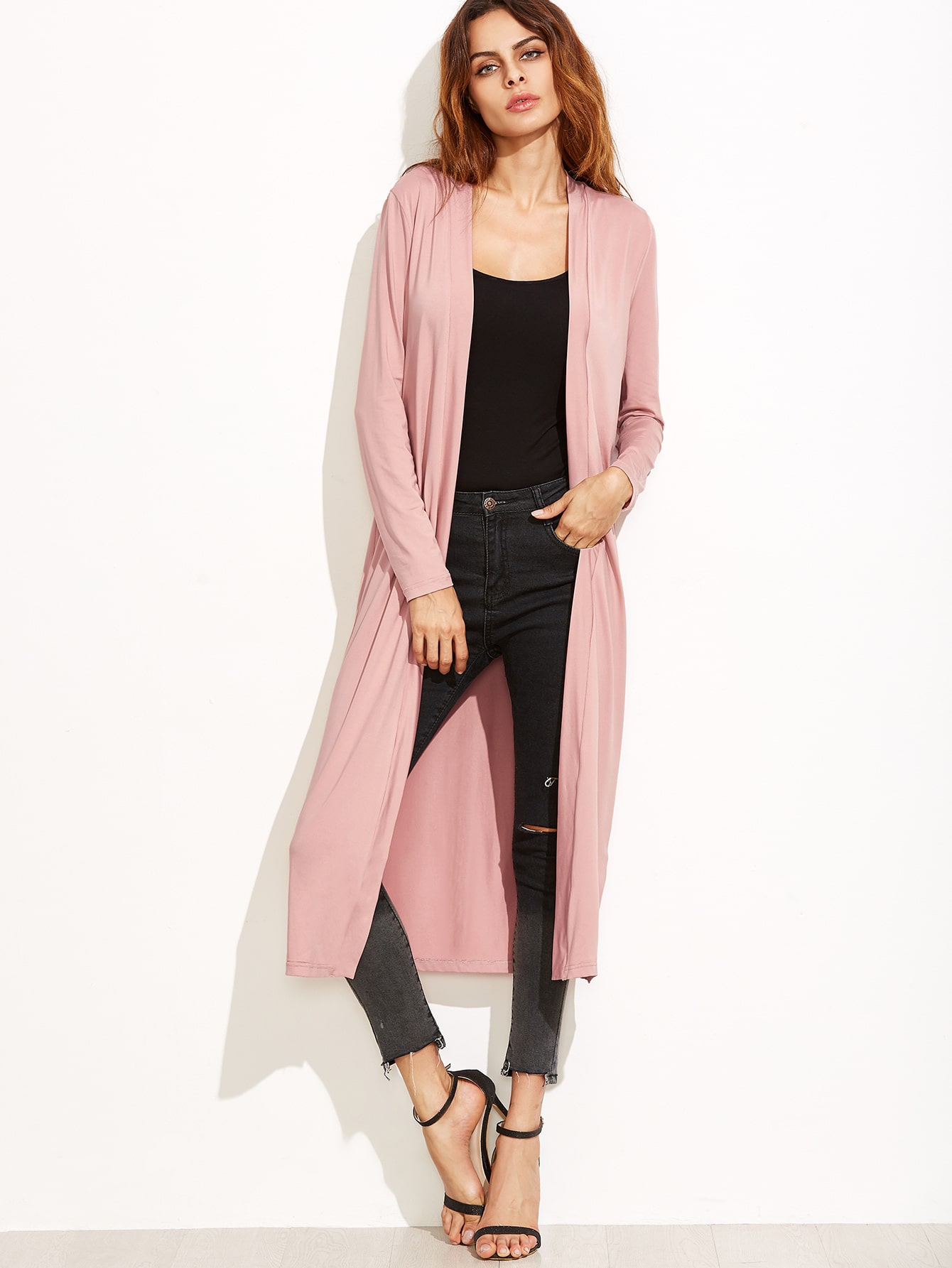 Pink Collarless Longline Duster Coat EmmaCloth-Women Fast Fashion ...