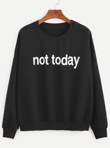 Black Drop Shoulder Letters Print Sweatshirt