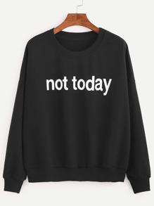 Black Drop Shoulder Letters Print Sweatshirt