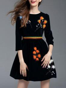 Black Embroidered Velvet A-Line Dress