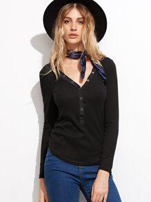 Black V Neck Button Front Ribbed T-shirt