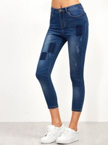 Blue Crop Skinny Jeans With Patchwork Detail