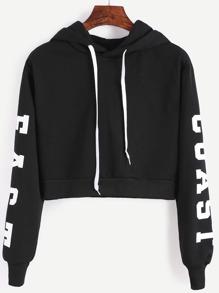 Black Hooded Letters Print Crop Sweatshirt
