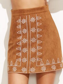 Camel Faux Suede Embroidered A Line Skirt