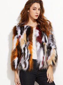 Multicolor Open Front Faux Fur Coat