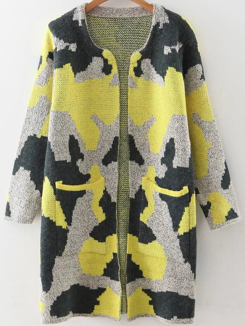 Yellow Camouflage Pattern Long Cardigan With Pockets EmmaCloth ...